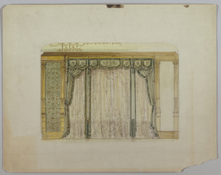 Drawing, Wall Elevation with Large Curtained Window, 19th–20th century