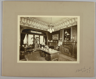 Drawing, Furnished Interior: Library with Desk, 19th–20th century