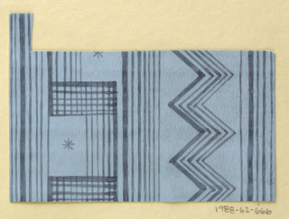 Geometric pattern of gradiated vertical stripes and chevrons in dark blue on light blue ground.