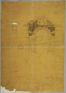 On yellowed brown paper, architectural plan and elevation views of details for the orangerie in the gardens at Hestercombe House in Taunton, Somerset. At right, an elevation for a stone gate with an escutcheon at the pediment. Above, at right, a sketch of the same building viewed on a diagonal. At left, details of plans, presumably for the same structure. At bottom right, partial drawing showing a symmetrical view of the gate above.