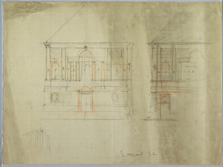 Architectural drawing depicting a design for a building, illustrated by two elevations highlighted in orange color pencil. Annotations and measurements throughout, illegible graphite inscription at lower center.