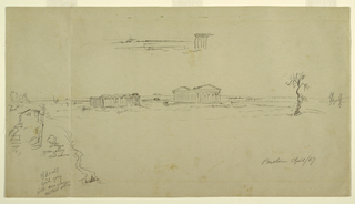 Recto:  Horizontal view showing at top the southwest corner of the Basilica and the sea, and a distant view of the Temple of Neptune and the Basilica seen from the East with a tree in the right foreground and an olive tree, a house, and the old wall in the left foreground.  Verso:  Horizontal view with the Temple of Neptune visible at the right.