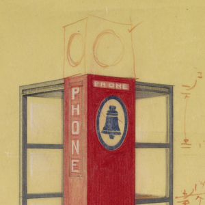 """On cream paper, design for a telephone booth in three-quarter view on a diagonal. On three walls, square windows bordered in blue; the opening for entry on the fourth wall; a red rectangular adjacent pillar with the Bell Telephone logo in blue and the word """"PHONE"""" written vertically and horizontally in white. Throughout, measurements, notations, and variations of the phone booth plan in brown color pencil and graphite."""