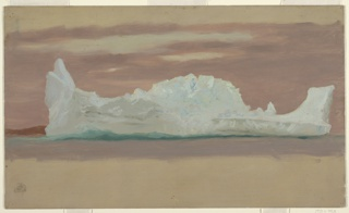 Seascape depicting a long iceberg shaped like a fish. High bottom and top margin showing the same ground color as 1917-4-305-A.