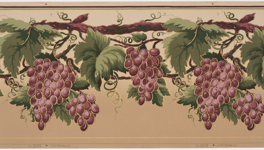Large bunches of red grapes are hanging from grape vines. The background shades from off-white to tan at the bottom.