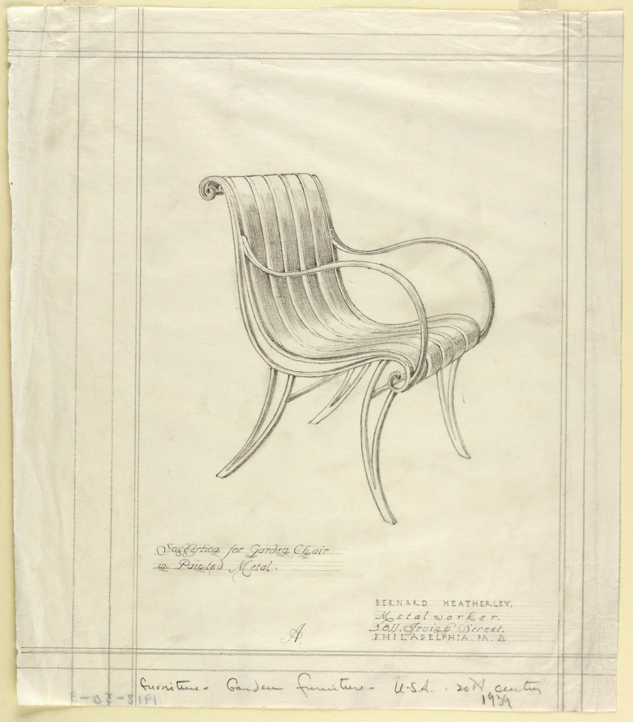 Drawing, Garden Chair in Painted Metal