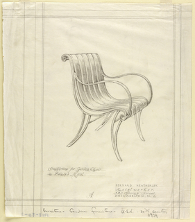 Vertical rectangle, ruled borders in graphite. Design for metal garden chair with curving legs and arms, the seat and splat made up of vertical curving pieces of metal curling over the top and bottom edges; design shown in three quarter front view. Graphite inscriptions below.