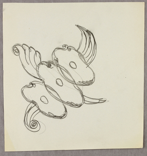 Drawing, Ovals/shells with wings/p