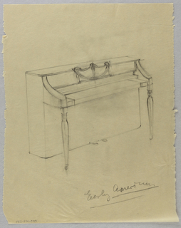 Drawing, Piano with molding on leg