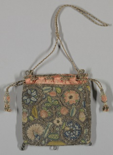 Design of coiling stems enclosing flowers and fruit. Plaited cord drawstring with tassels.