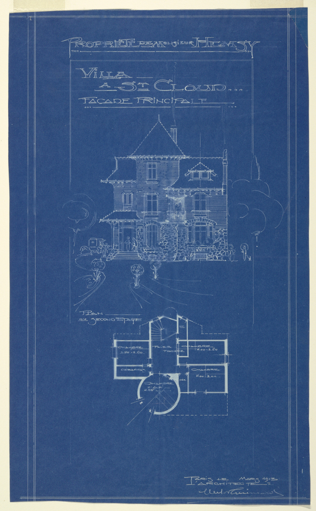 Blueprint, Villa of M. Hemsy, St. Cloud, Facade Principale