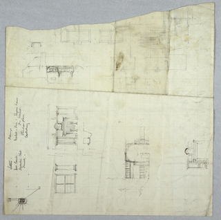 On a sheet with a loss at top edge, several sketches of designs for a building oriented vertically and horizontally. Vertical graphite inscriptions at left edge.