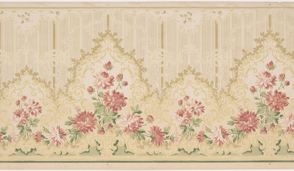 An elegant garland of pink peonies is festooned across the bottom of the panel and highlighted by a foliate scrollwork border. A lace-like pattern with vertical striations covers the top of the panel. This design is printed in shades of pink, green and gold on a beige background.