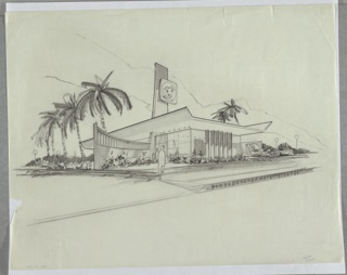 "Exterior perspective rendering for Borden Company's Elsie's Restaurant. Single-story rectilinear glass structure with flat cantilevered roof culminating in up-tilted wings on either side. L-shaped wall extends horizontally from left façade and features vertical striations and regular perforations at top while vertical plane appears to reach through the structure's roof culminating in horizontal striations over which a sign bearing Borden's brand mascot Elsie is imposed. At right another horizontal wall extends from interior to exterior and bears signage where ""Elsie's"" is written in cursive script. Landscape is tropical with palm trees and succulents."