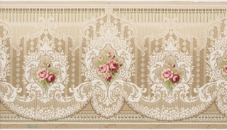 Pink roses set within medallion containing foliate and floral motifs. Tall medallions alternate with shorter medallions. Swags are suspended beneath the medallions. Printed in pink, white, green and brown on tan paper.
