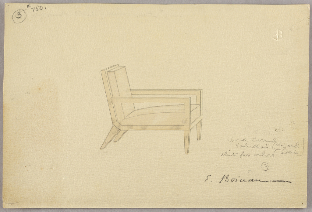 Open-armed chair, wood covered in lizard, straight front legs, splayed back legs.  Note: invoice in drawing folder records Fouteuil No. 3 frs. 9.500 ($750)  Inscriptions: in graphite, upper left: 3 (encircled) $750 Lower right: wood covered / galuchant / white ... color / 3 (encircled) / E. Boiceau  Embossed artist's monogram, upper right: EB