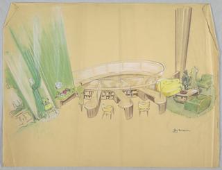 Drawing, Top floor of showroom wit