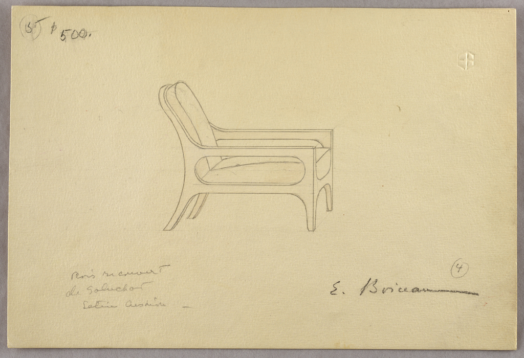 Open-armed sycamore chair covered in lizard; slightly reclining back, straight front legs, splayed back legs.   Note: invoice in drawing folder records Fauteuil No. 5 frs. 10.500 ($800)  Inscriptions: in graphite, upper left: 5 (encircled) $500 lower left: Bois recouvert / de galuchat / satin cushion lower right: 4 (encircled) / E. Boiceau embossed artist's monogram, upper right: EB  Verso: 244 E.52