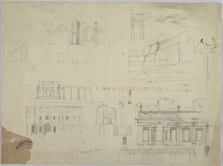 On a single sheet, several architectural elevation sketches of designs for a building, each showing different views and elements. Annotations and measurements throughout. Illegible graphite inscription at lower center. Discoloration at lower left edge.