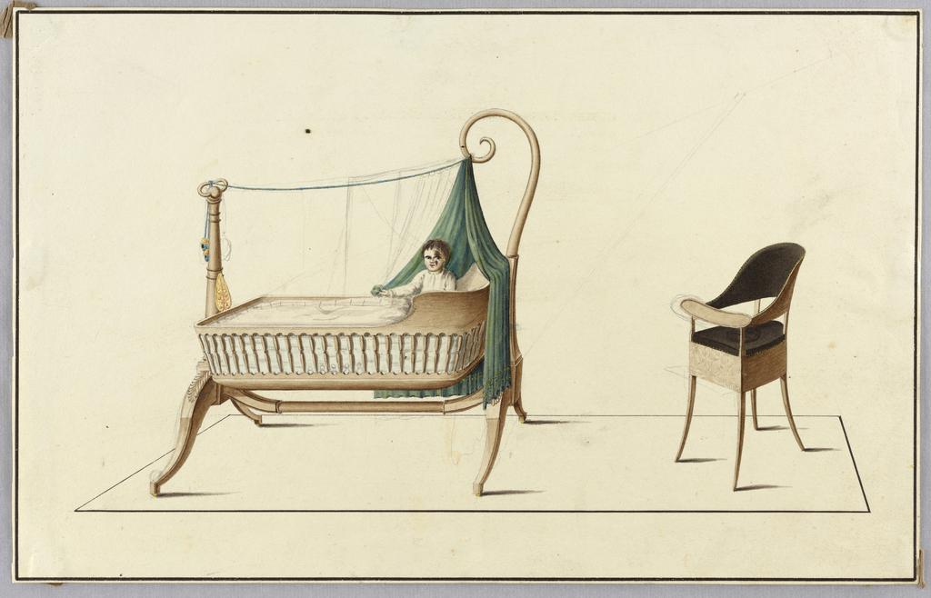Drawing, Cradle & Highchair, 1850–1900