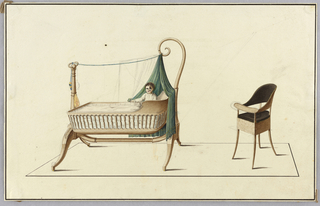Drawing, Cradle & Highchair, 1850–1900