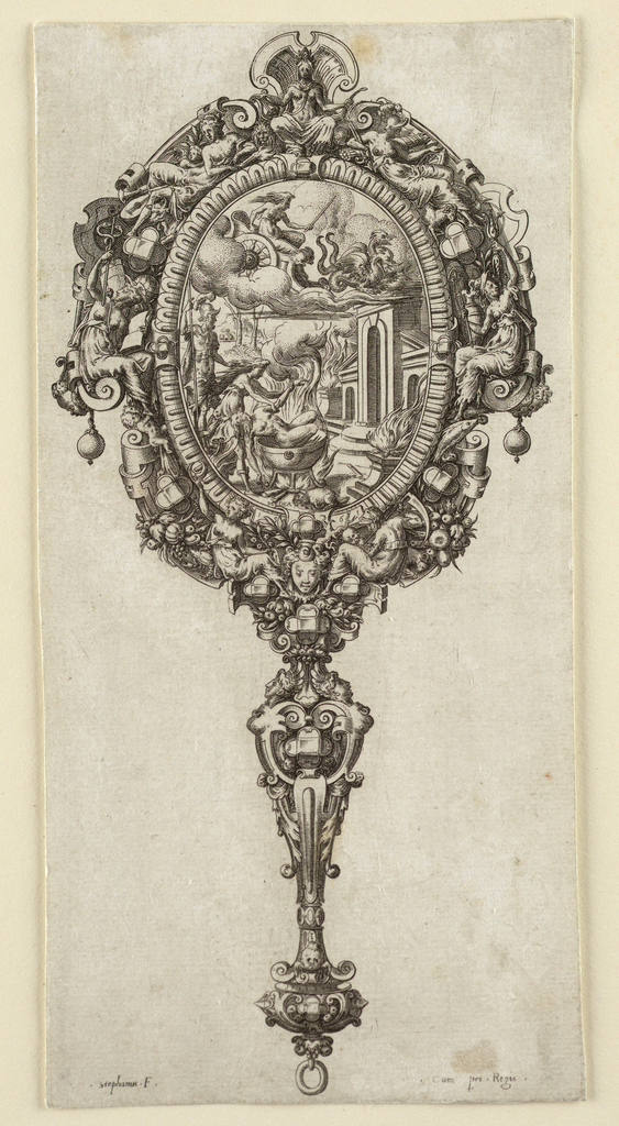Print, Hand Mirror with Scenes from the Story of Medea