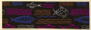 Black ground with pattern of orange, blue, yellow, and pink fish and waves.