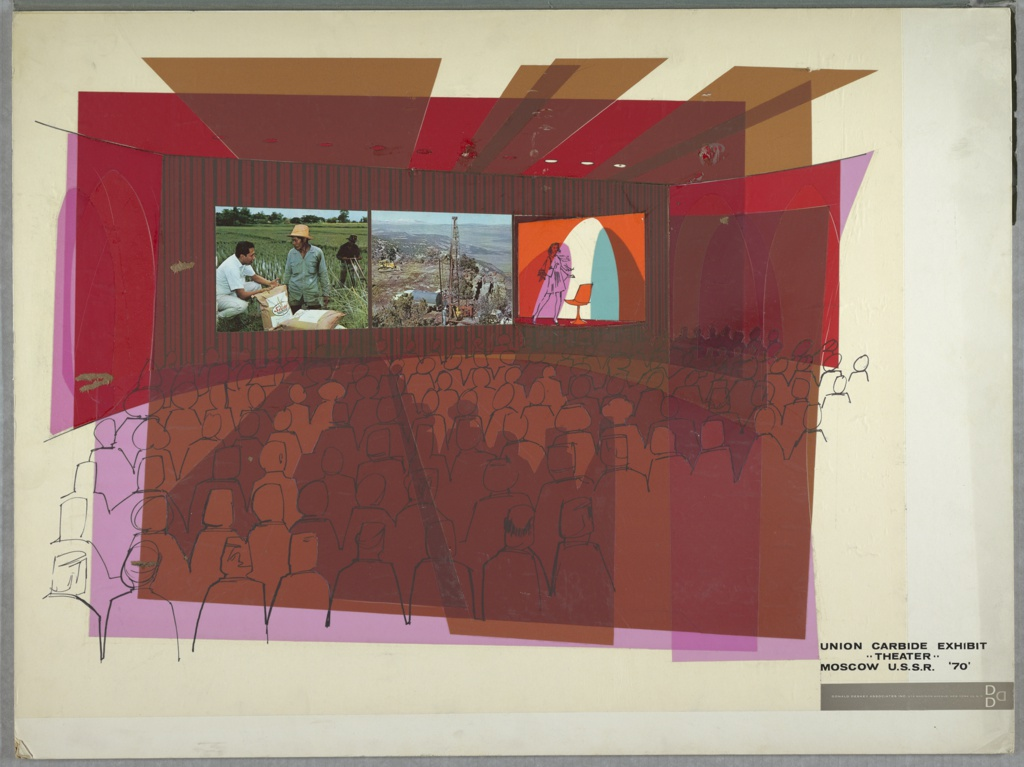 Drawing/collage, Design for Union Carbide Exhibit Theater, Moscow, U.S.S.R.
