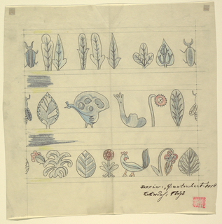 White ground with three rows of stylized figures, the top row with leaves and insects, the middle and lower rows with leaves, flowers, insects, and birds in shades of  teal, blue, black, and red