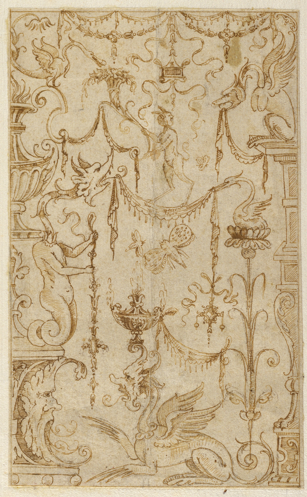 Drawing, Design for Grotesque Decoration, mid–late 16th century