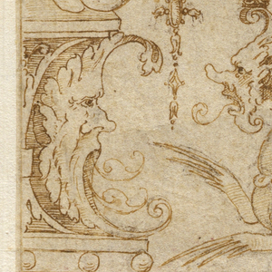 The edges of the sheet are framed by candelabra (rendered in half form) and composed of a variety of swags and animals Fantastic animals at center left and right threaten a small saytr at center who balances on a swag. At bottom a sphinx with human face crouches, facing left.