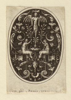Oval ornament design with a decorative foliate motif throughout and featuring two central seated female figures each with one arm raised towards and holding a leafy branch.  Above the branches is a winged upright female figure.