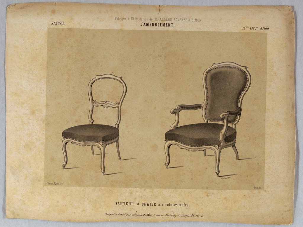 Drawing, Fauteil & Chaise, lithograph, 1850–1900