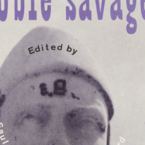 "Cover design for ""The Noble Savage 4,"" edited by Saul Bellow and Keith Botsford. Black and white photographic image of a three quarter frontal view of a stone sculpture.  Text superimposed over image on headgear, across face and at lower left on image. White text across face in the form of a curling mustache.Title of book appears in ""Playbill"" type at top of sheet. Pointed red circular shape at lower left with printed black text within."