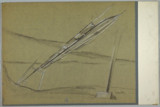 Drawing, Monorail Station for MacArthur Airport, ca. 1950s–70s