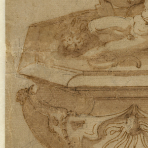 The figure of Oceanus, crowned with seaweed and spewing water, emerges from a mass of waves at the top of the fountain design. Beneath him, reclining in octagonal basin decorated with marine motifs, are river gods Arno on the right and Tiber on the left. Each river god hoists an urn from which water flows and is joined by his respective attributes: the lion for Florence (Arno) and Romulus, Remus and the Wolf for Rome (Tiber).  Alternative treatments for base ornaments are shown.