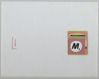 Design for Motorama/DragonOil. Design layout at right center of sheet comprising of red rectangle with black ruled lines and white circle with the captial letter M in black at center. Oval above in yellow and yellow-green with MOTORAMA in black at center, horizontally. Dragonoil in white and black along right side, outlined in green. Markers applied to verso of sheet.