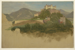 Drawing, Castle from Salzburg, Austria, 1868