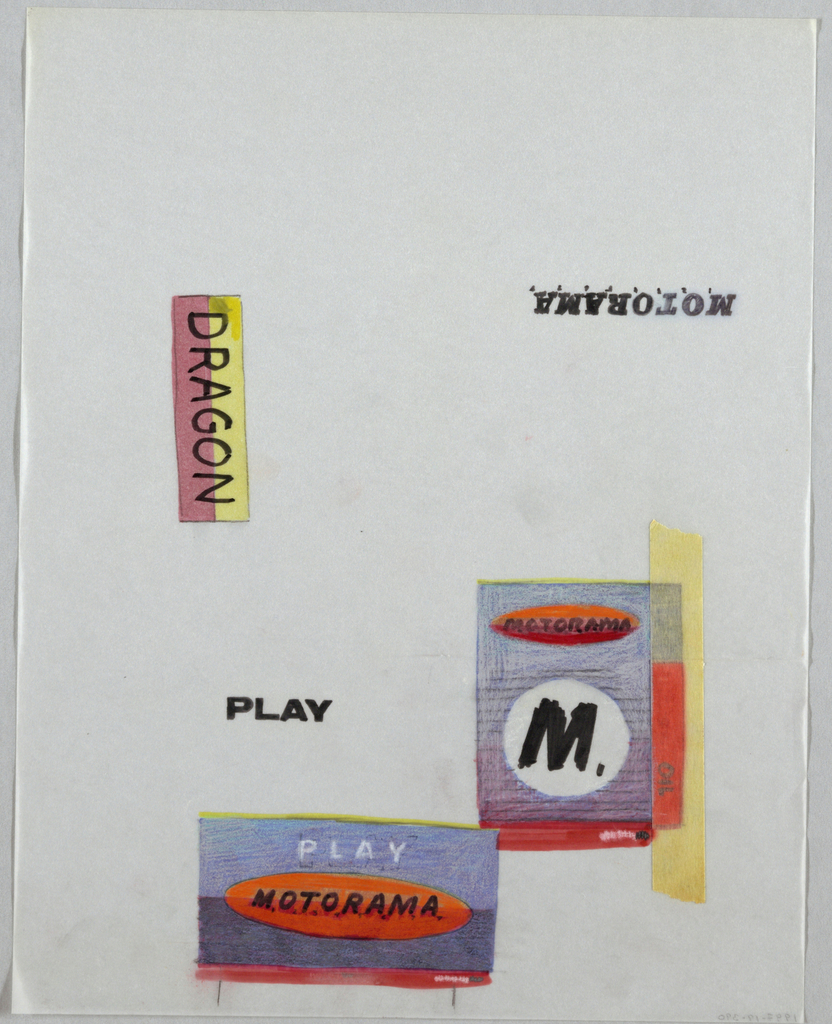 """Sheet of layout designs. Two layout designs for Motorama in red and blue at bottom and lower right of sheet. Lower design: red oval with MOTORAMA in black letters on blue background. Right side design: blue and red rectangle with black ruled lines, white circle with black M at center, red oval with MOTORAMA in black above. Masking tape along right edge over word DRAGONOIL. At left -"""" Dragon""""  on red/yellow rectangle, verticle orientation. Below, """"Play"""" in black; at top right MOTORAMA in black, upside down."""