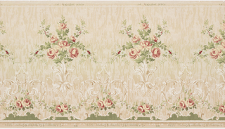 "This frieze features a horizontal repeat of symmetrical sprays of roses sprouting from a stylized acanthus bunch. A small area of mesh pattern supports the acanthus leaves, and a festooned rose garland and scrollwork border follow the bottom edge of the panel. An allover woodgrain pattern adds texture to the paper. Selvedge is printed ""14 Exclusive Design."" This design was printed in shades of pink, green, tan and pale yellow on a beige ground."