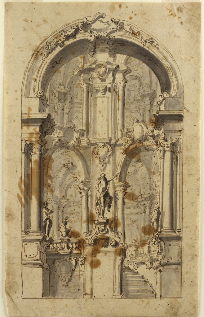Drawing, Arched Doorway with Stairs