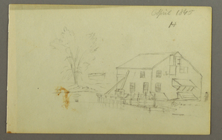 Drawing, Loft building with wharf beside a stream, 1845