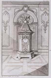 Octagonal tower shaped stove on ball feet with circular door at front surrounded with stylized scrolling acanthus and crown with laurel leaves.  Upper section is stepped pyramid ending in an eagle standing on a globe surrounded with arrows. Stove is shown in a niche with a scallop shell head topped by a cartouche.