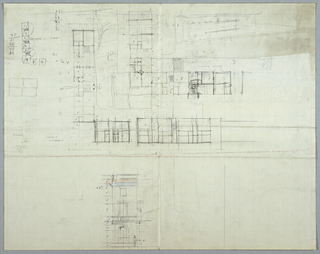Architectural drawing depicting a design for a building, the upper portion of the composition dominated by a large architectural plan. Below, a segment of an elevation with a figure for scale and ornamental details in blue and red. Annotations and measurements throughout.