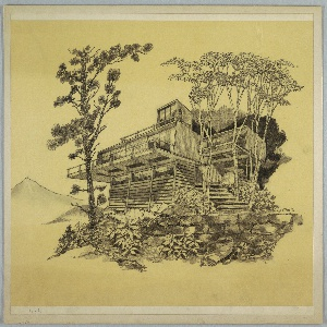 """Design for prefabricated house, exterior perspective in landscape. At lower right, masonry retaining wall with landscape consisting of leafy shrubbery, a conifer tree at left and deciduous trees at right. Terraced steps lead up to modular prefab house with lower level consisting of three bays of upper ribbon windows and horizontal siding. Main level is rectangular volume with vertical siding and front deck with railing cantilevered over lower level. At right, second story floats atop cantilevered supports. Third story at center above main volume with additional railed deck space. Landscape recedes into darkness at right with one mountain in background at left. Signed """"R Heston '71"""" in graphite at lower right."""