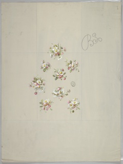 Eight clusters of daisies evenly spaced,  facing different directions with foliage. Clusters arranged in the beginnings of a diamond shape. Vertical rectangular guidelines in graphite are visible.