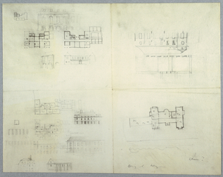 On a single sheet of paper divided into four quadrants, architectural designs for a building depicted in both plan and elevation forms. Measurements and inscriptions throughout.