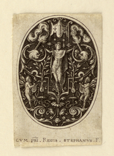Oval ornament design featuring a central male figure in classical drapery with arms outstretched surrounded by foliate decorative elements and two cherubs playing the lyre.