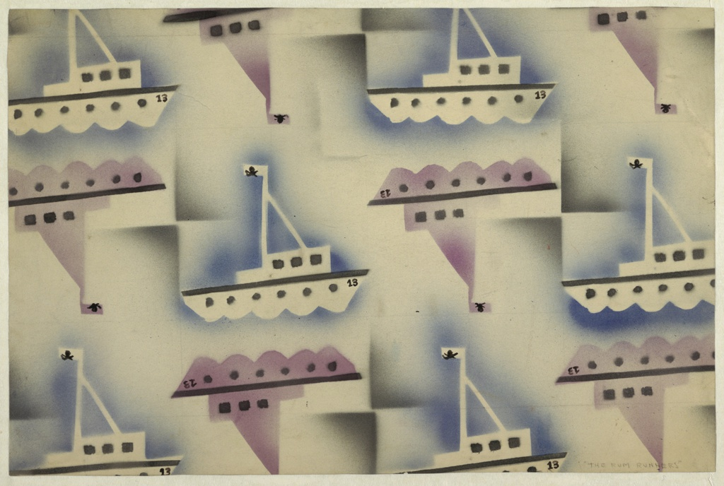 """Drawing, Textile Design: """"The Rum Runners"""""""