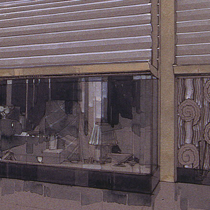 Oblique perspective view of three walls of shop facades.  On central wall, two long vitrines flank central entry beneath a curved overhang (partial vault/canopy) -- its underside articulated by a grooved or concave cove pattern.  At right, a door with art deco ornamentation (vertical rippled wave-like pattern and  spiral decoration) beneath  narrow architectural panel with similar rows of concave ribbing.  On left and right walls, additional store facades with arched decoration above.